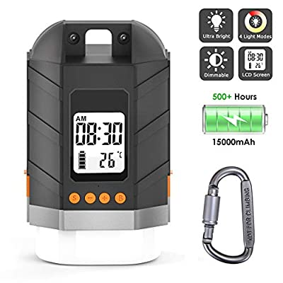Sinvitron LED Camping Lantern Rechargeable/Power Bank 15000mAh, Camping Tent Light W/Up to 500H Light Time & LCD Screen, 4 Light Mode, IP65 Waterproof for Emergency, Hurricane, Power Outage, Hiking