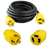 Leisure Cords 3-Prong 15 Feet 30 Amp Generator Cord, 10 Gauge Heavy Duty L6-30 Generator Power Cord up to 3750W with Cord Organizer (15-Feet)