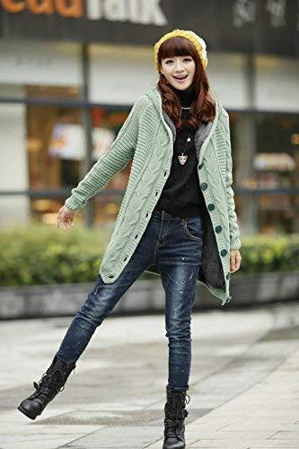 Top Sweater Streetwear Otoño Sólido Ropa Swag Chaqueta Arriba Básicos Larga Moda Outerwear Grün Tejer Manga Mujer Botón Hipster Color AwTBqxwC