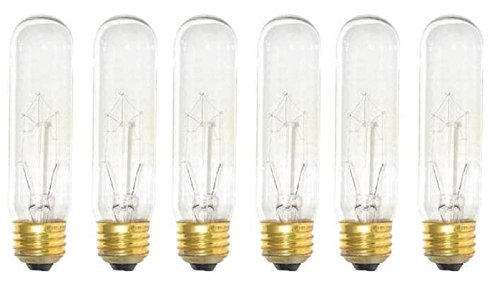 Bulb Light Tubular Picture - Pack Of 6 25 Watt T10 Clear Tubular Incandescent Medium (E26) Base 120-Volt Light Bulb