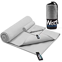 2 Pack Microfiber Travel Sports Towel - Wolfyok XL Ultra Absorbent and Quick Drying Swimming Towel (58 X 30) with Hand/Face Towel (14 X 13.7) for Sports, Backpacking, Beach, Yoga or Bath,Blue