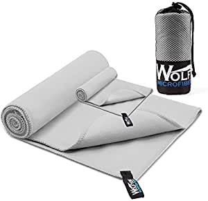 """2 Pack Microfiber Travel Sports Towel - Wolfyok XL Ultra Absorbent and Quick Drying Swimming Towel Set (58"""" X 30"""") with Hand Towel (14"""" X13.7"""") for Sports, Backpacking, Beach, Yoga or Bath, Gray"""