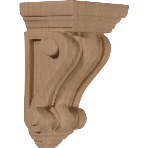 Ekena Millwork CORW02X02X04DERW 2 1/4-Inch W x 2 1/4-Inch D x 4 1/4-Inch H Devon Traditional Wood Corbel, Rubberwood (Traditional Wood Corbel)