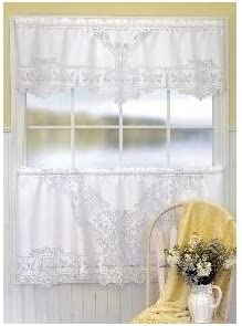 Heritage Lace Heirloom 60-Inch Wide by 30-Inch Drop Tier, White