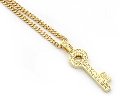 (Gold Tone Old School Skeleton Key Pendant Hip-hop with 3mm 30