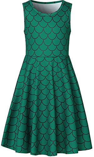 Leapparel Fancy Dresses for Girls, Green Fish Scales Print Willow Skirt for Girls Age 10-13T