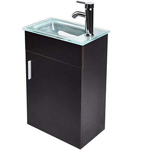 "Assembly Glass Top (ELECWISH 16.5"" Wall-Mounted Bathroom Vanity Set, Modern Black Storage Cabinet, Frosted Tempered Glass Top Sink with Chrome Faucet, P-trap Drainage, Pop Up Drain)"