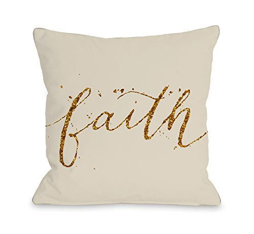 One Bella Casa Faith Throw Pillow by OBC, 18''x 18'', Cream/Gold by One Bella Casa