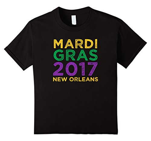 [Kids Mardi Gras 2017 New Orleans Vintage Distressed Gift T-Shirt 4 Black] (Mardi Gras Outfit Ideas)