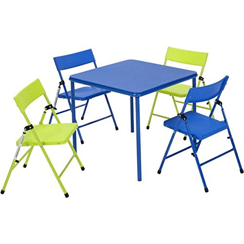 Multi-functional Cosco Kid's 5 Piece Folding Chair and Table Set, Blue and Lime Green by Easy