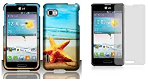 LG Optimus F3 (LS720, MS659) - Accessory Combo Kit - Starfish on Beach Design Shield Case + Atom LED Keychain Light + Screen Protector