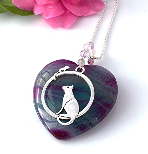 Bohemian Style Jewelry, Natural Blue-Violet AGATE Heart Shape Gemstone, Amethyst Bail Lovely Cat and Mouse Pendant (1.8' Long) wiht FREE Silver Chain. ()