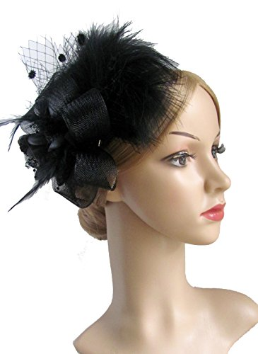 Women's Fascinator Hair Clip Feather Wedding Headware Bridal 1920s Headpiece (Black)
