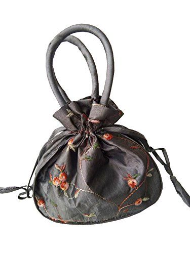 YuRong Taffeta Wedding Bag for bridal Embroidery Pouches Wedding Accessories B01 (Silver) by YuRong