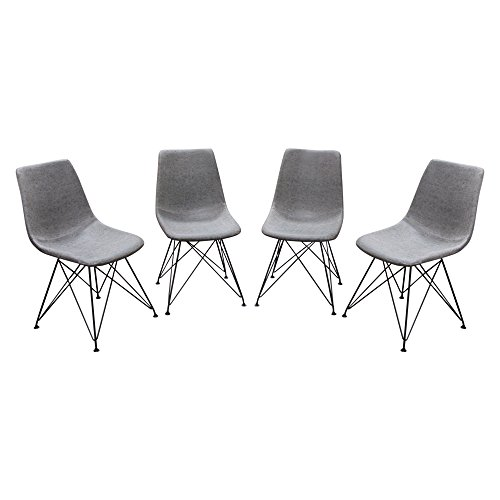 Diamond Sofa Dining Chairs in Steel Gray - Set of 4