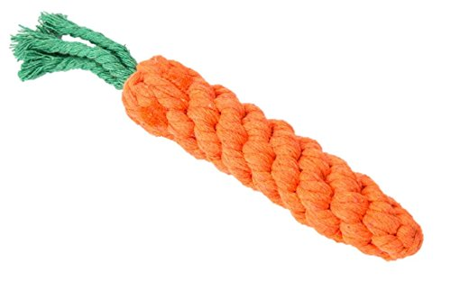 (Because of Paws Braided Rope Carrot Chew Toy - Durable, Fun, Colorful Shapes - For Small/Young Dogs Only)