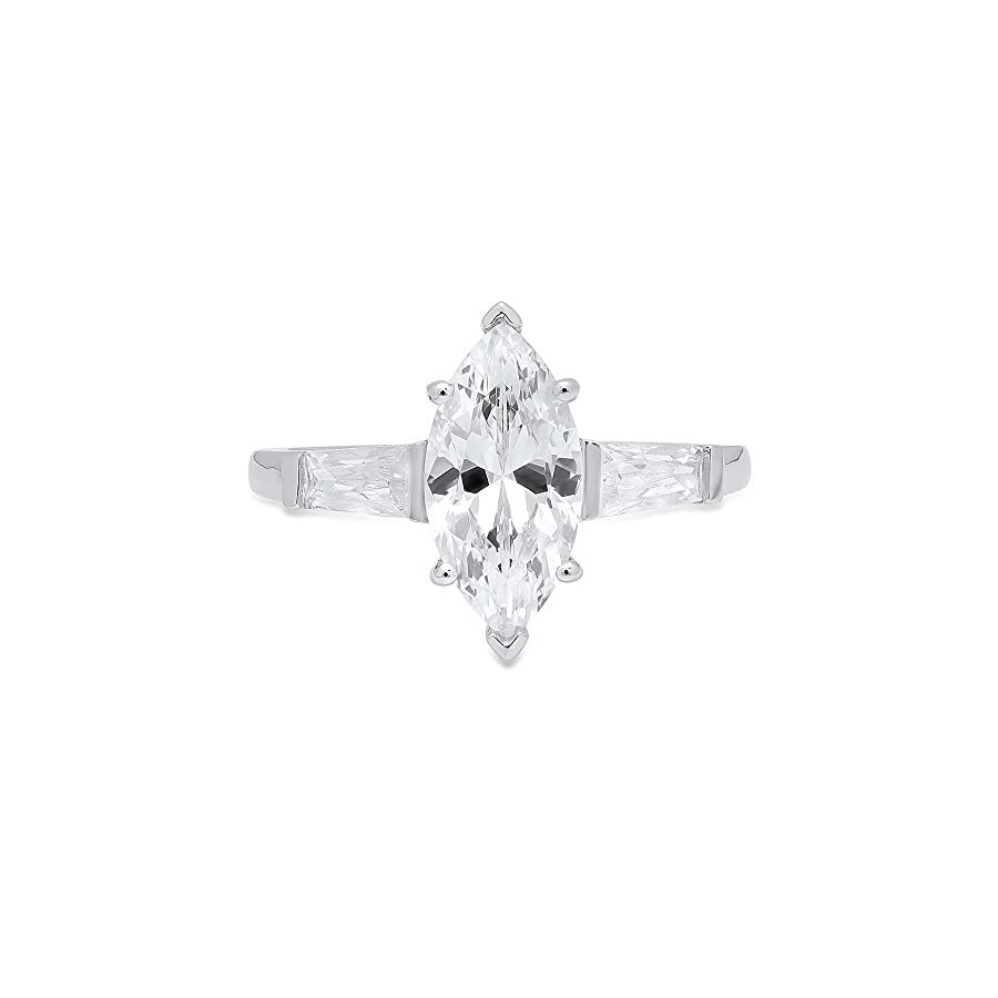 Clara Pucci Marquise & Baguette Cut Solitaire 3 Stone Engagement Wedding Anniversary Promise Ring 14K White Gold, 1.85CT