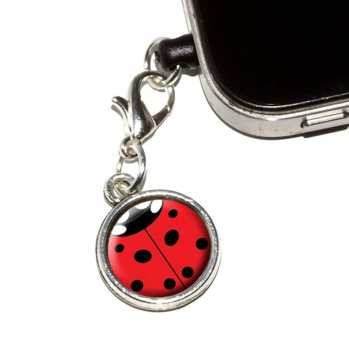 Graphics And More Lady Bug   Insect Ladybug Anti Dust Plug Universal Fit 3 5Mm Earphone Headset Jack Charm For Mobile Phones   1 Pack   Non Retail Packaging   Antiqued Silver