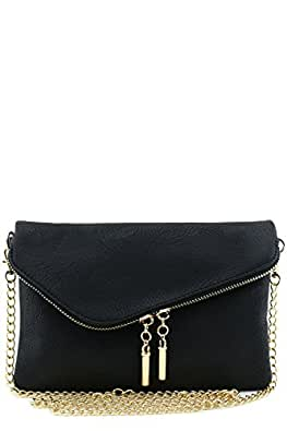 Envelope Wristlet Clutch Crossbody Bag with Chain Strap Black