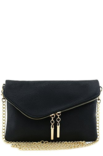 Envelope Wristlet Clutch Crossbody Bag with Chain Strap Black