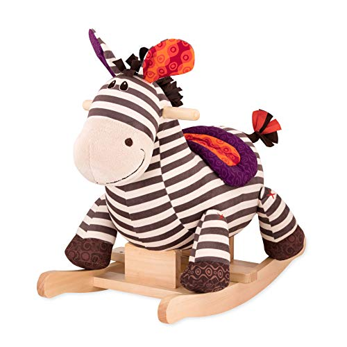 B. toys - Kazoo Wooden Rocking Zebra - Rodeo Rocker - Plush Ride On Zebra Rocking Horse for Toddlers and Babies 18m+
