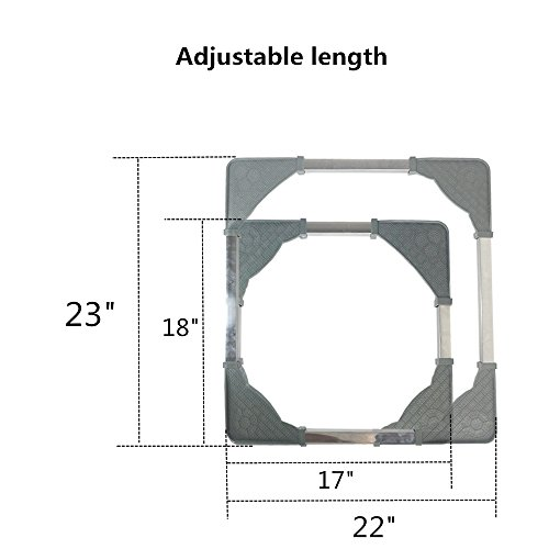 Adjustable Movable Base with 4Locking Rubber Swivel Wheels Size Adjustable Universal Machine Carriage for Washing Machine Dryer Refrigerator Cabinet by CJGQ (Image #1)