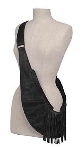SASH Black Fringe Genuine Leather Lightweight Crossbody Bag for Women - Multi-Pocketed, Zippered Travel Purse with RFID