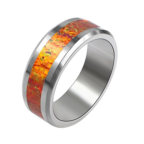 Sinlifu 8mm Synthetic Red Opal Inlays Tungsten Carbide Silver Polished Wedding Band MEN WOMENS Engagement Bridal Ring Size 8 - Band With Mens Wedding Opal