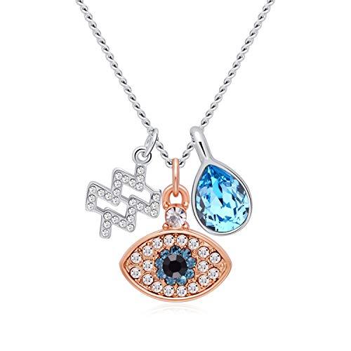 (OLYSHE Necklace Zodiac Pendant 12 Constellations for Women Swarovski Jewelry Anniversary/Birthday Girl Gift (Aquarius))