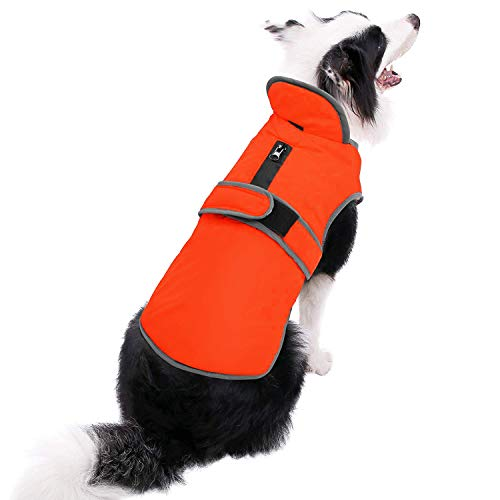 MIGOHI Reflective Waterproof Windproof Dog Coat Cold Weather Warm Dog Jacket Reversible Stormguard Winter Dog Vest for Small Medium Large Dogs (Orange, XXL)
