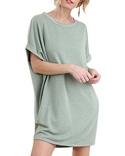 Dresses Womens Green Pockets Tunic Dress with T Chuanqi Causal Loose Shirt Short Shift Sleeve Tops qI6OUwd