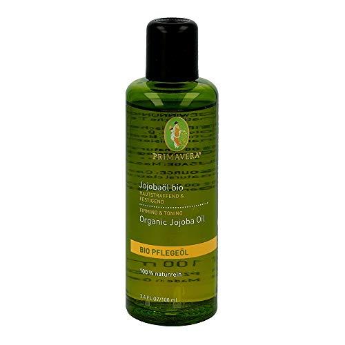 PRIMAVERA Pflegeöl Jojobaöl bio 100 ml - Naturkosmetik, Pflanzenöl, Hautöl - feuchtigkeitsspendend bei fettiger, gereizter Haut - vegan