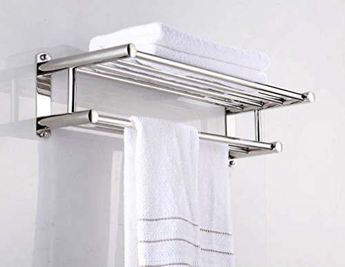 PNBB Stainless Steel Double Towel Bar 23 inch wih 5 Hooks,Bathroom Shelves,Towel Holders Bath,Towel Rack,Bathroom Shelves