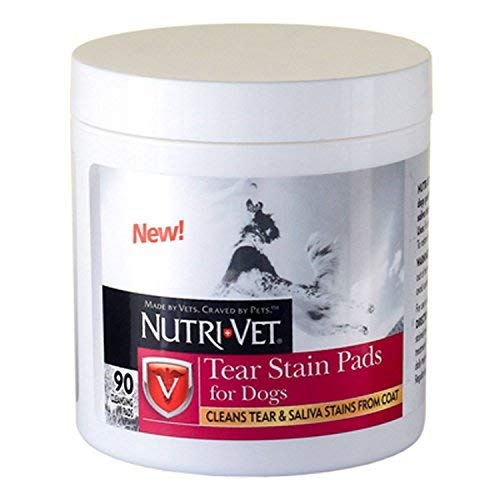 (Nutri-Vet Dog Eye Wipes Tear Stain Remover Pads 90 Count Cleans Tear and Saliva Stains from Coat)