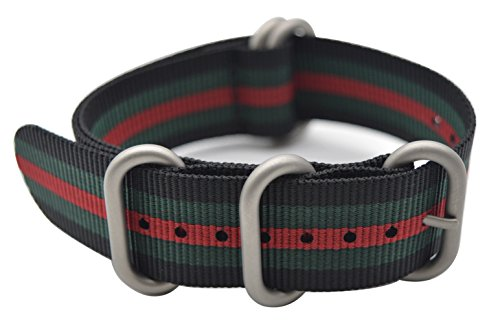 ArtStyle Watch Band with Colorful Nylon Material Strap and Heavy Duty Brushed Buckle (Black/Green/Red, - Watch Wrist Gucci Black
