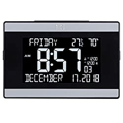 "hito 9.5"" Mains Powered Large Digital Desk Clock Wall Auto Dimmer 7:00pm-7:00am Dual Alarm DST Calendar Date Day Indoor Temperature Humidity Modern Decorative for Bedroom, Kitchen, Office (Black)"