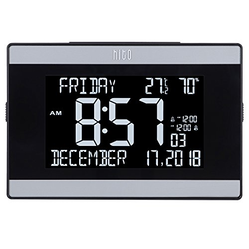 """hito 9.5"""" Mains Powered Large Digital Desk Clock Wall Auto Dimmer 7:00pm-7:00am Dual Alarm DST Calendar Date Day Indoor Temperature Humidity Modern Decorative for Bedroom, Kitchen, Office (Black)"""