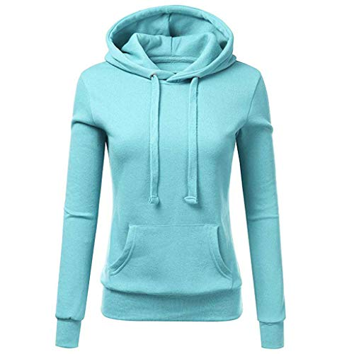 Ulanda Womens Casual Hoodies Sweatshirt Color Block Long Sleeve Hooded Tops Jumper Pullover with Pockets (S, Pure Color Hoodie-Blue)