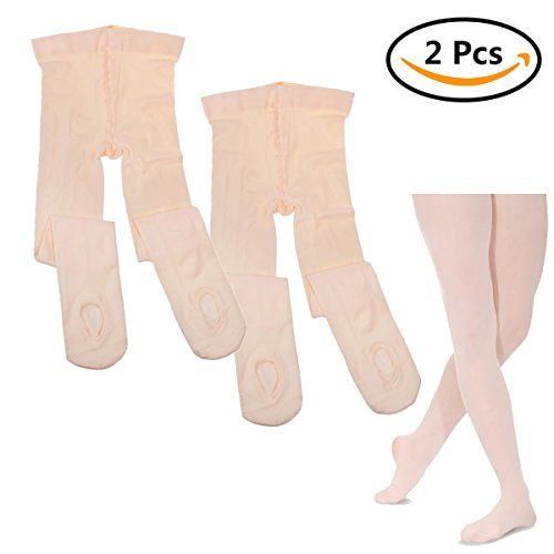 Footless Stretch Tights - StarVast Girls Dance Tights, Ultra Soft Convertible Tight with a hole on the bottom of the foot, Small,Ballet Pink