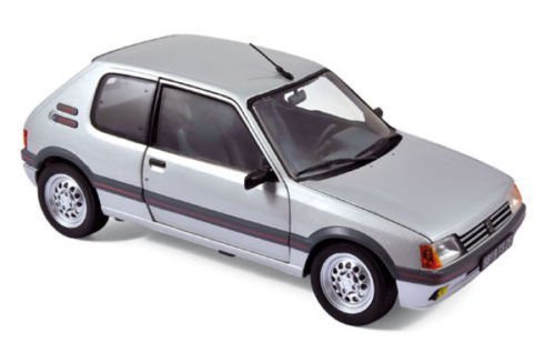 Norev New 1:18 W/B Collection - Grey 1988 Peugeot 205 GTI Diecast Model Car