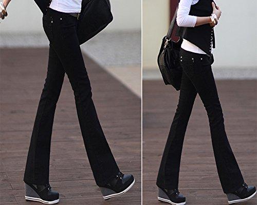 Basse Noir Ample Femme Vintage Bootcut Pantalon Large Stretch Taille Jeans zgxtPS