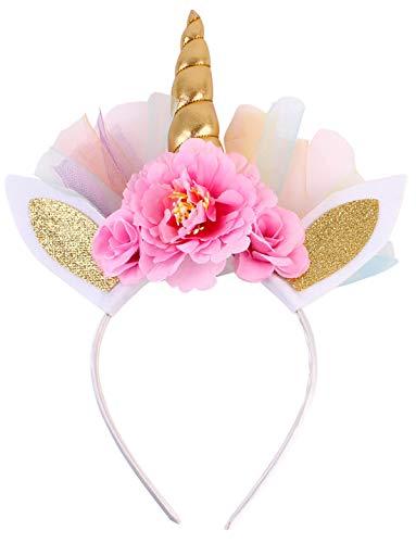 Gold Unicorn Headband for Girls Cute Shiny Unicorn Horn Ears Toddler Flower Headdress for Kids Adults Birthday Party Cosplay Costume ()