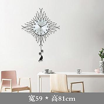 Jedfild Casa salón grandes relojes de pared modernos relojes dormitorio personalidad creativa silenciar el reloj de