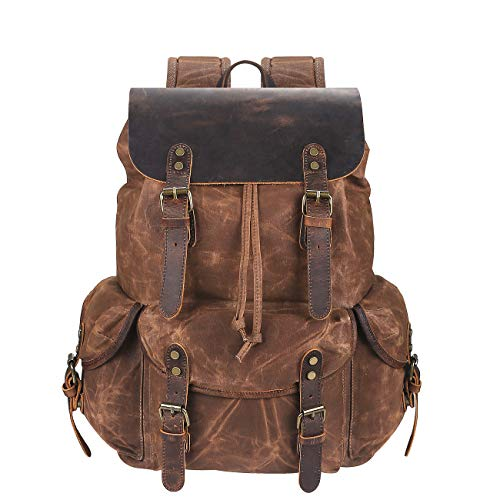 LISAMZ Travel Backpack for Men & Women| Genuine Leather-Waxed Canvas Shoulder Rucksack| Vintage Style W/Laptop Space & Multiple Pockets| Large Bag for Travel, School, University & More by WUDON - Backpack Leather Tech