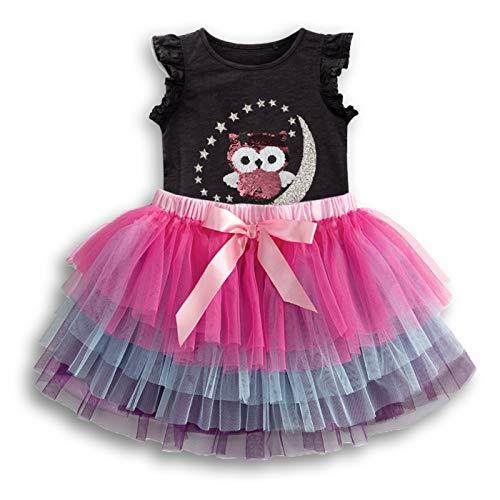 VIKITA Toddler Girls Dresses Owl on The Moon w/Stars Short Sleeve TutuDresses for Girls 2pcs Set Black SK3921M, 5T ()