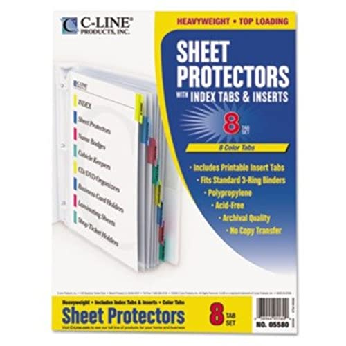 C-Lineamp;reg; Sheet Protectors with 8 Colored Index Tabs amp;amp ...