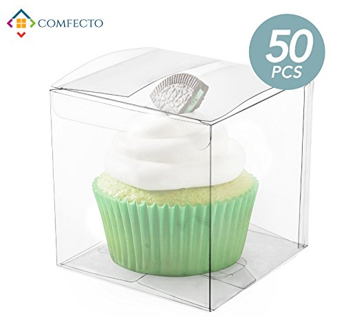 COMFECTO 50 Pcs 4x4x4 Inch Clear Crystal Plastic Tuck Top PVC Boxes,Excellent for Cupcake Chocolate Wedding Favor Party Gift Display,Effortless Assembly Easy To Fold Boxes with Predefined Creases