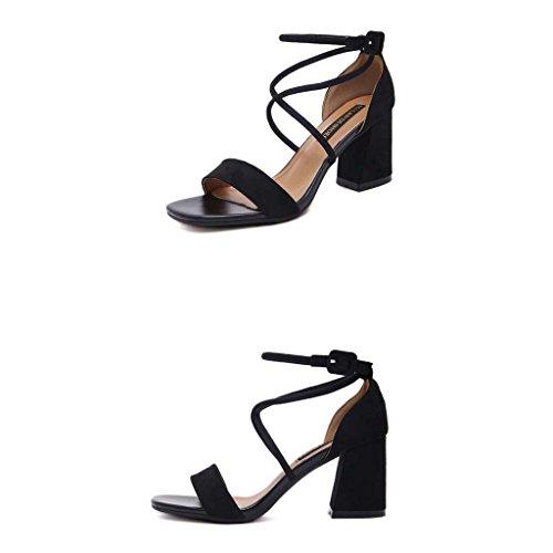 SHEO sandalias de tacón alto Señoras correas cruzadas con correas de tacón alto con sandalias gruesas Negro