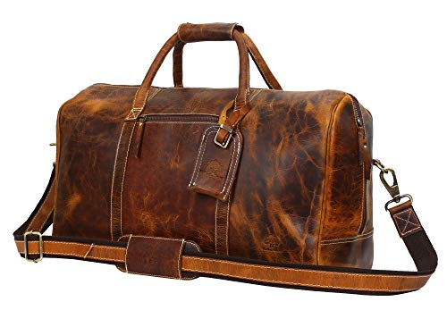 Leather Travel Duffel Bag - Airplane Underseat Carry On Bags By Rustic Town ()