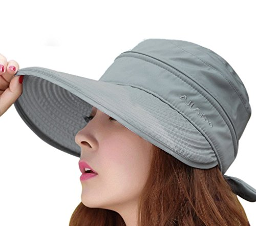 Women s 2 in 1 Anti UV Beach Sun Hat Golf Cap Tennis Cycling Fishing Cap  Removable Top Cover Open-top Wide Brim Sunhat Shapeable Peaked Floppy  Travel Bucket ... dd68ae75d65